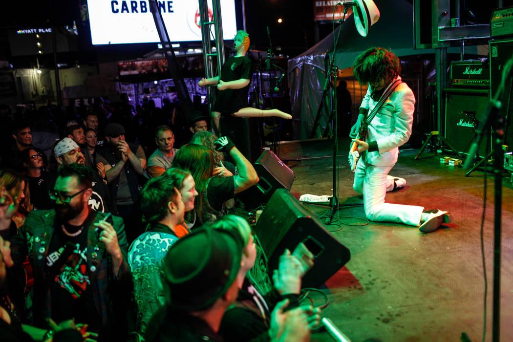 Shaku Keiji of The Heiz, based out of Tokyo, Japan, plays guitar during the 25th anniversary show at the Double Down Saloon in Las Vegas, Saturday, Nov. 25, 2017. Joel Angel Juarez Las Vegas Revie ...