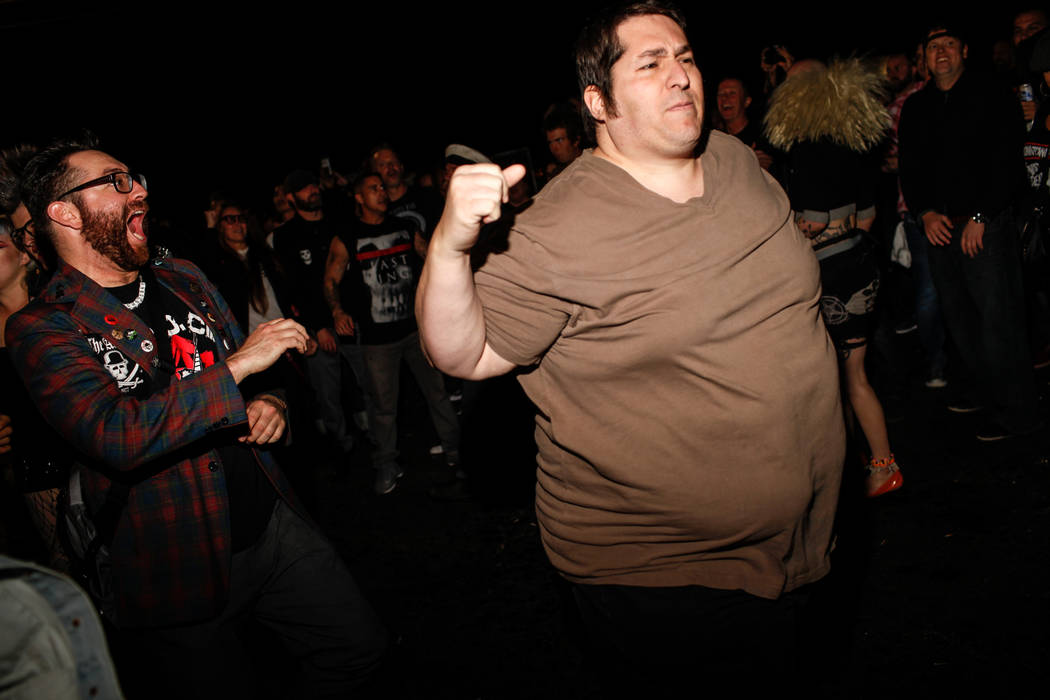 People run in a mosh pit during The Dwarves' performance during the 25th anniversary show at the Double Down Saloon in Las Vegas, Saturday, Nov. 25, 2017. Joel Angel Juarez Las Vegas Review-Journa ...