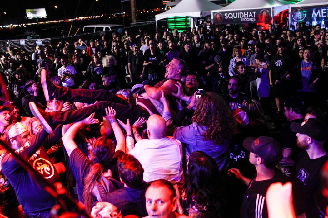 Blag Dahlia of The Dwarves crowd surfs during the 25th anniversary show at the Double Down Saloon in Las Vegas, Saturday, Nov. 25, 2017. Joel Angel Juarez Las Vegas Review-Journal @jajuarezphoto