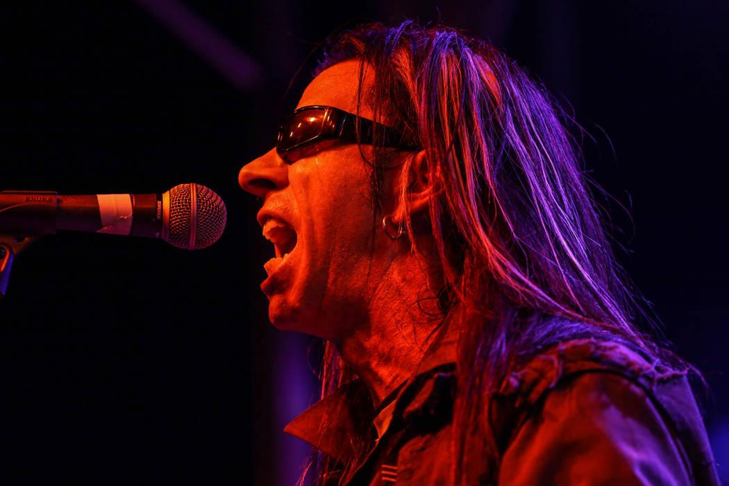 Shaun Kama of Shaun Kama & The Kings of the Wild Frontier sings during the 25th anniversary show at the Double Down Saloon in Las Vegas, Saturday, Nov. 25, 2017. Joel Angel Juarez Las Vegas Re ...