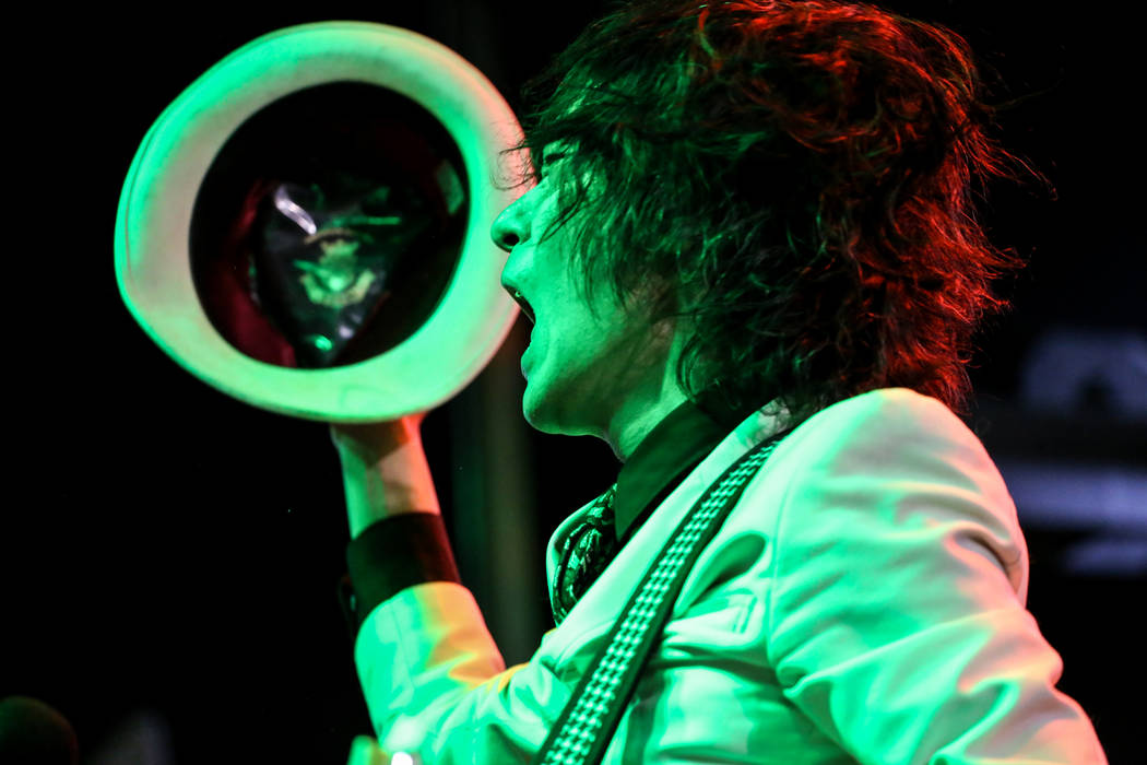 Shaku Keiji of The Heiz, based out of Tokyo, Japan, shouts during a performance during 25th anniversary show at the Double Down Saloon in Las Vegas, Saturday, Nov. 25, 2017. Joel Angel Juarez Las  ...