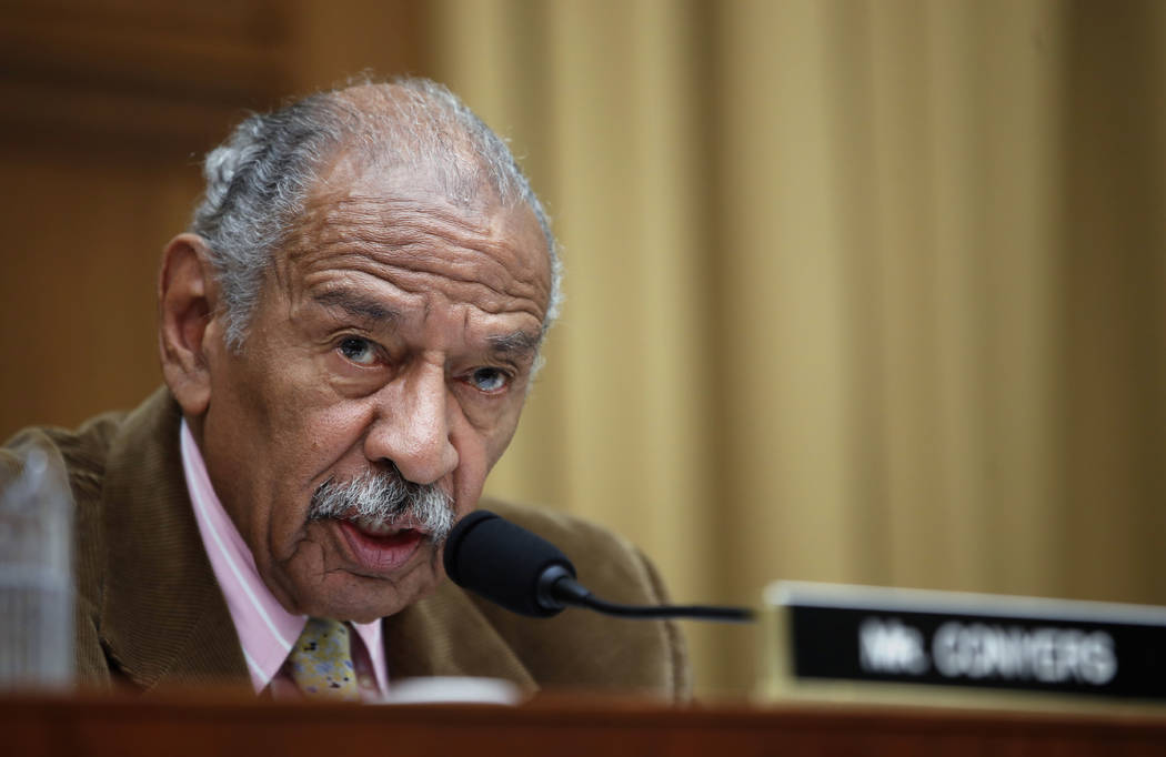 Rep. John Conyers, D-Mich., speaks during a hearing of the House Judiciary subcommittee on Capitol Hill in Washington, April 4, 2017. (Alex Brandon/AP, File)