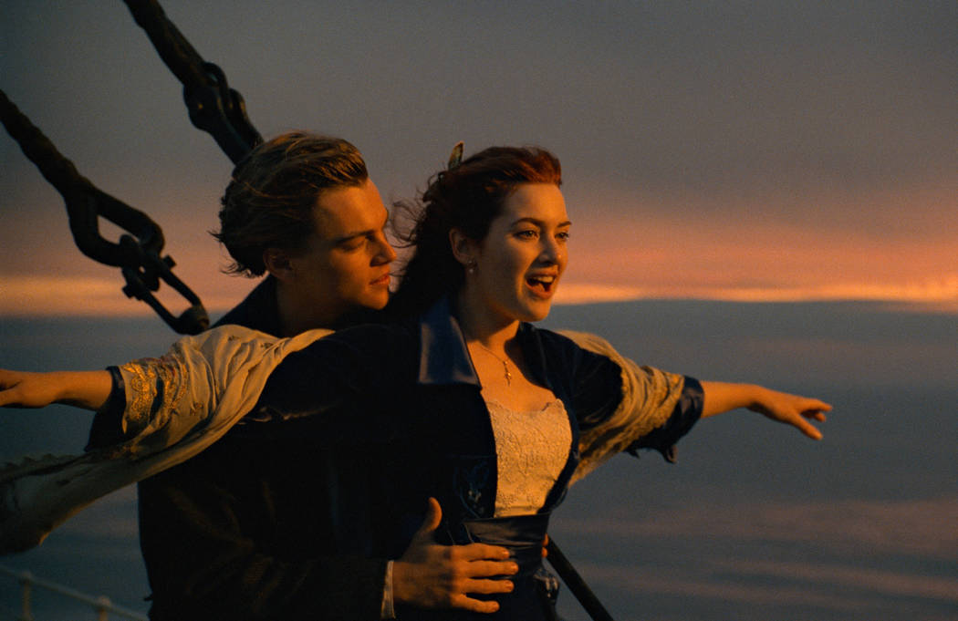 This image released by Paramount Pictures shows Leonardo DiCaprio, left, and Kate Winslet in a scene from Titanic. The film will be returning to theaters for one week starting Friday. (Paramount P ...
