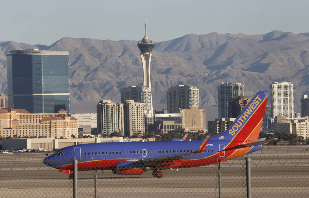 A Southwest Airlines plane taxis after landing at McCarran International Airport on Tuesday, Nov. 28, 2017, in Las Vegas. Bizuayehu Tesfaye Las Vegas Review-Journal @bizutesfaye