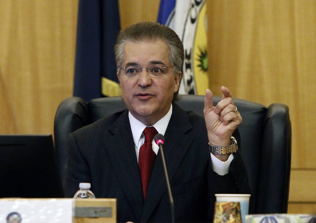Gaming Commission Chairman, Tony Alamo, speaks during the Gaming Policy Committee, which meets at the direction of the governor, discusses marijuana policy involving gaming establishments on Wedne ...