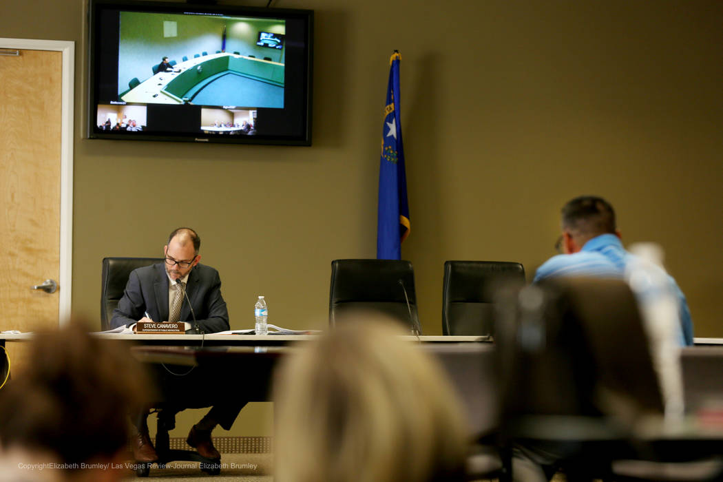 State superintendent Steve Canavero listens to individuals opinions regarding transgender policies for the Clark County School District at  Nevada Department of Education in Las Vegas, Tuesday, No ...
