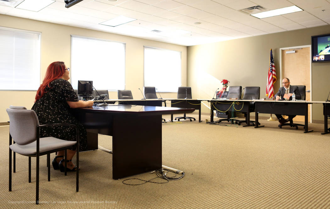 Family services coordinator for Gender Justice Nevada Laura Hernandez shares her story of her transgender child's school experience during a meeting regarding transgender policies for the Clark Co ...