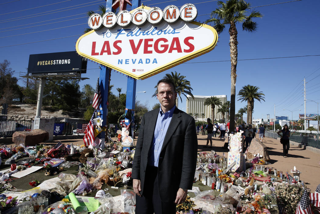 Jeff Dion, deputy executive director of the National Center for Victims of Crime, at a memorial set up, honoring the victims of the 91 Harvest mass shooting, at the Welcome to Fabulous Las Vegas s ...