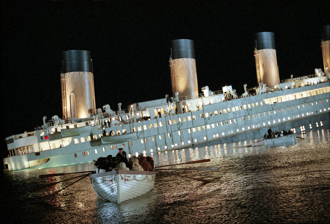 Titanic begins to sink. (Paramount)