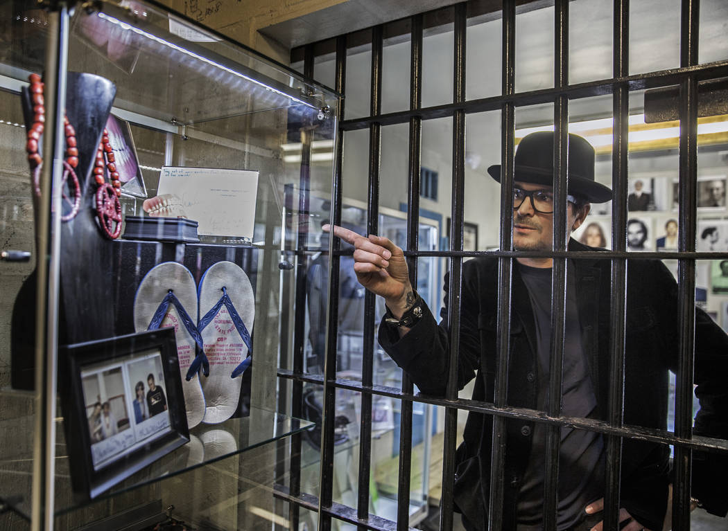 TV ghost hunter Zak Bagans discusses how he acquired Charles Manson's false teeth and some of his prison artwork, photographs and memorabilia on Monday, Nov. 27, 2017, at Zak Bagans' Haunted Museu ...