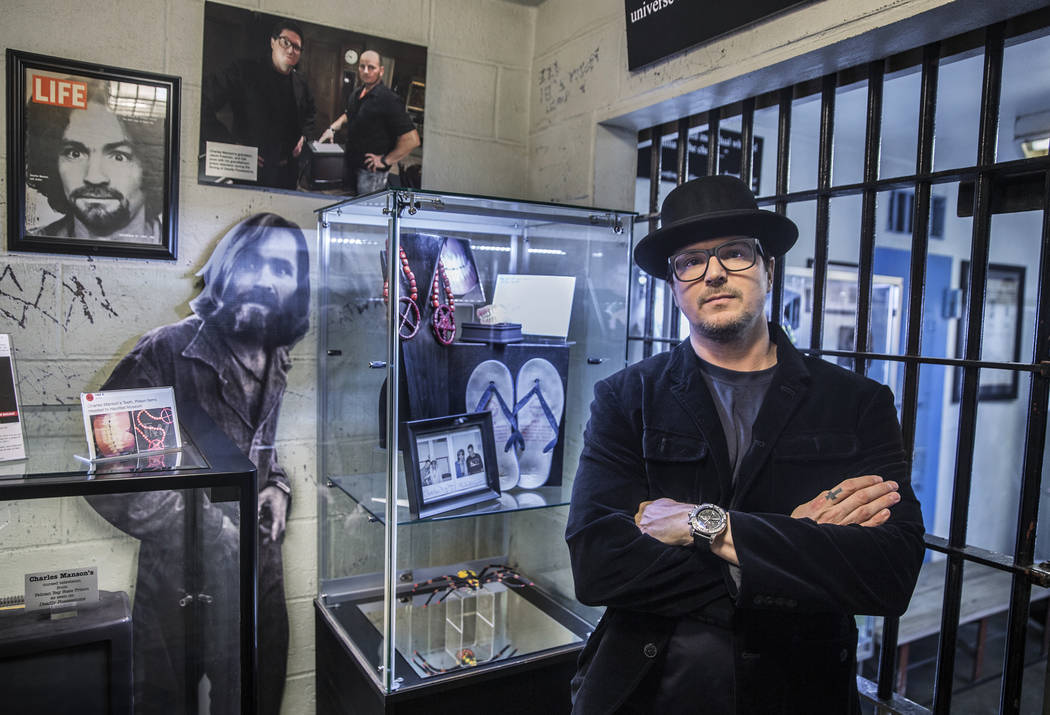 TV ghost hunter Zak Bagans recently acquired Charles Manson's false teeth and some of his prison artwork, photographs and memorabilia. Photo taken on Monday, Nov. 27, 2017, at Zak Bagans' Haunted  ...
