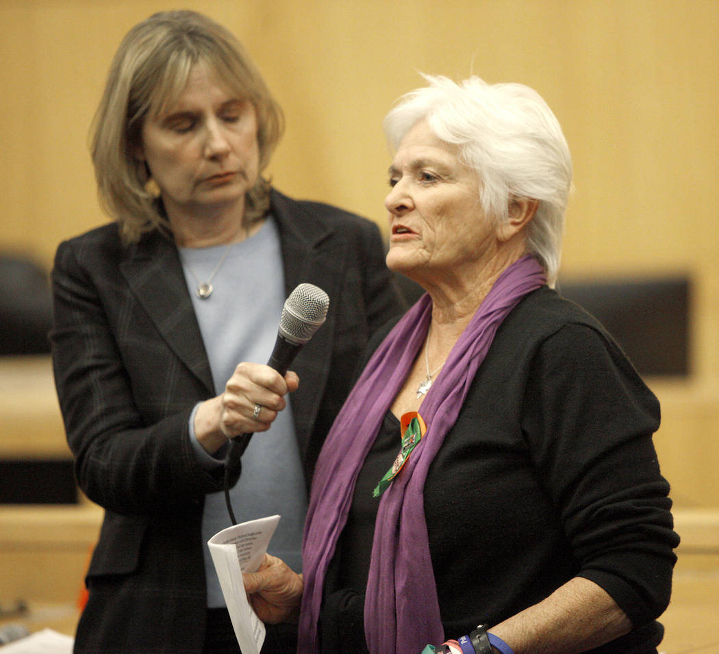 Pat Maisch, from the National Compassion Fund, a network of survivors of mass tragedies, speaks to those in attendance and the Las Vegas Victims Fund committee at the Clark County Government Cente ...