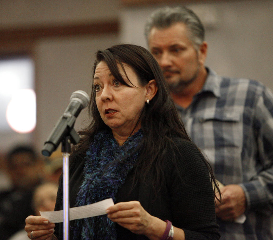 Yvonne Justice, a Route 91 survivor, speaks to the Las Vegas Victims Fund committee at the Clark County Government Center in Las Vegas, Tuesday, Nov. 28, 2017. It was the second town hall that day ...