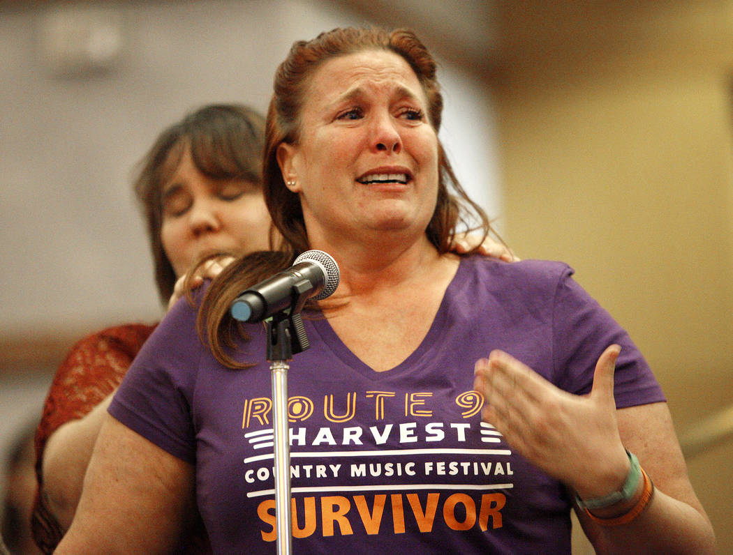 Heather Gooze, a Route 91 survivor, speaks to the  Las Vegas Victims Fund committee at the Clark County Government Center in Las Vegas, Tuesday, Nov. 28, 2017. She does not currently qualify to re ...