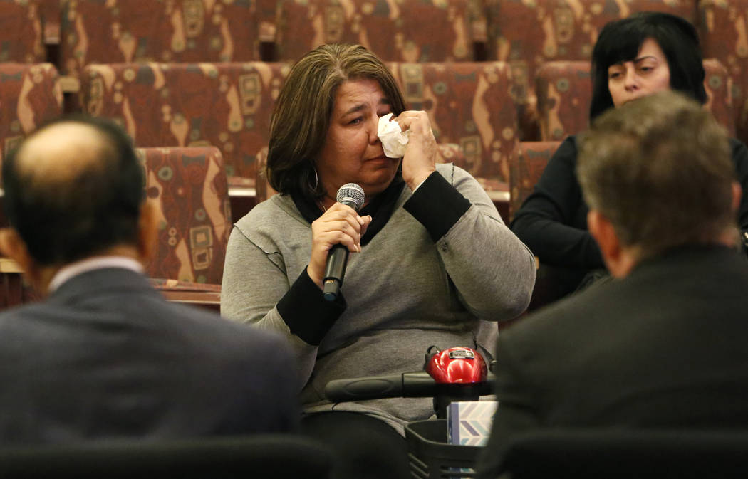 Michelle Leonard, victim of the Oct. 1 Las Vegas shooting, speaks before the Las Vegas Victims Fund committee Tuesday, Nov. 28, 2017, in Las Vegas. The Las Vegas Victims Fund committee held a town ...