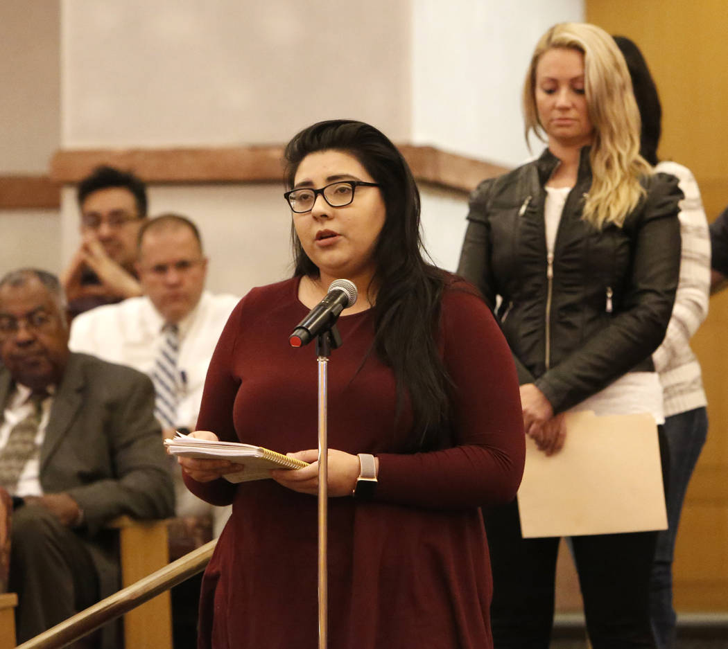 Kimberly King, survivor of the Oct. 1 Las Vegas shooting, speaks before the Las Vegas Victims Fund committee Tuesday, Nov. 28, 2017, in Las Vegas. The Las Vegas Victims Fund committee held a town  ...