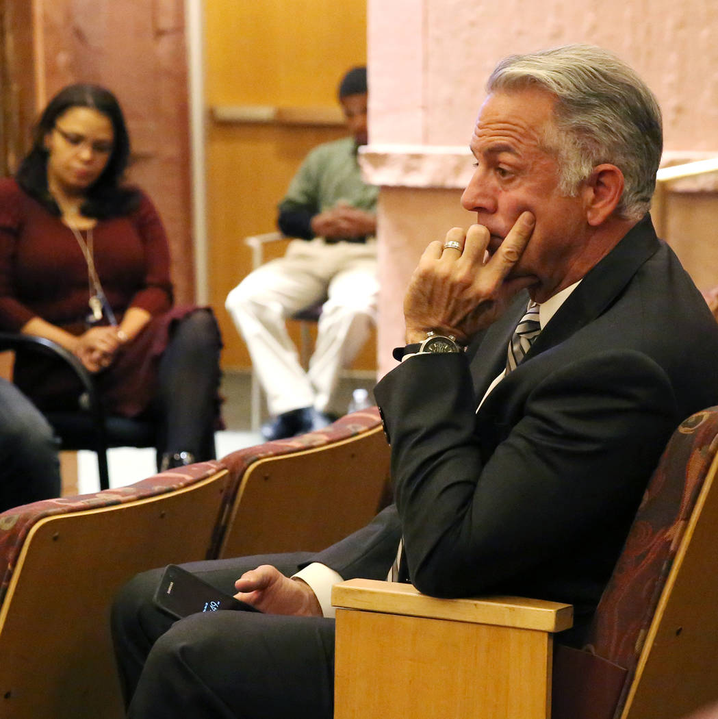 Sheriff Joe Lombardo attends the Las Vegas Victims Fund committee's town hall meeting Tuesday, Nov. 28, 2017, in Las Vegas. The committee held a town hall meeting Tuesday morning to solicit input  ...