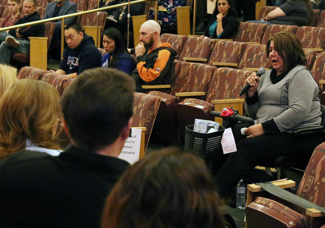 Michelle Leonard, right, victim of the Oct. 1 Las Vegas shooting, speaks before the Las Vegas Victims Fund committee Tuesday, Nov. 28, 2017, in Las Vegas. The Las Vegas Victims Fund committee held ...