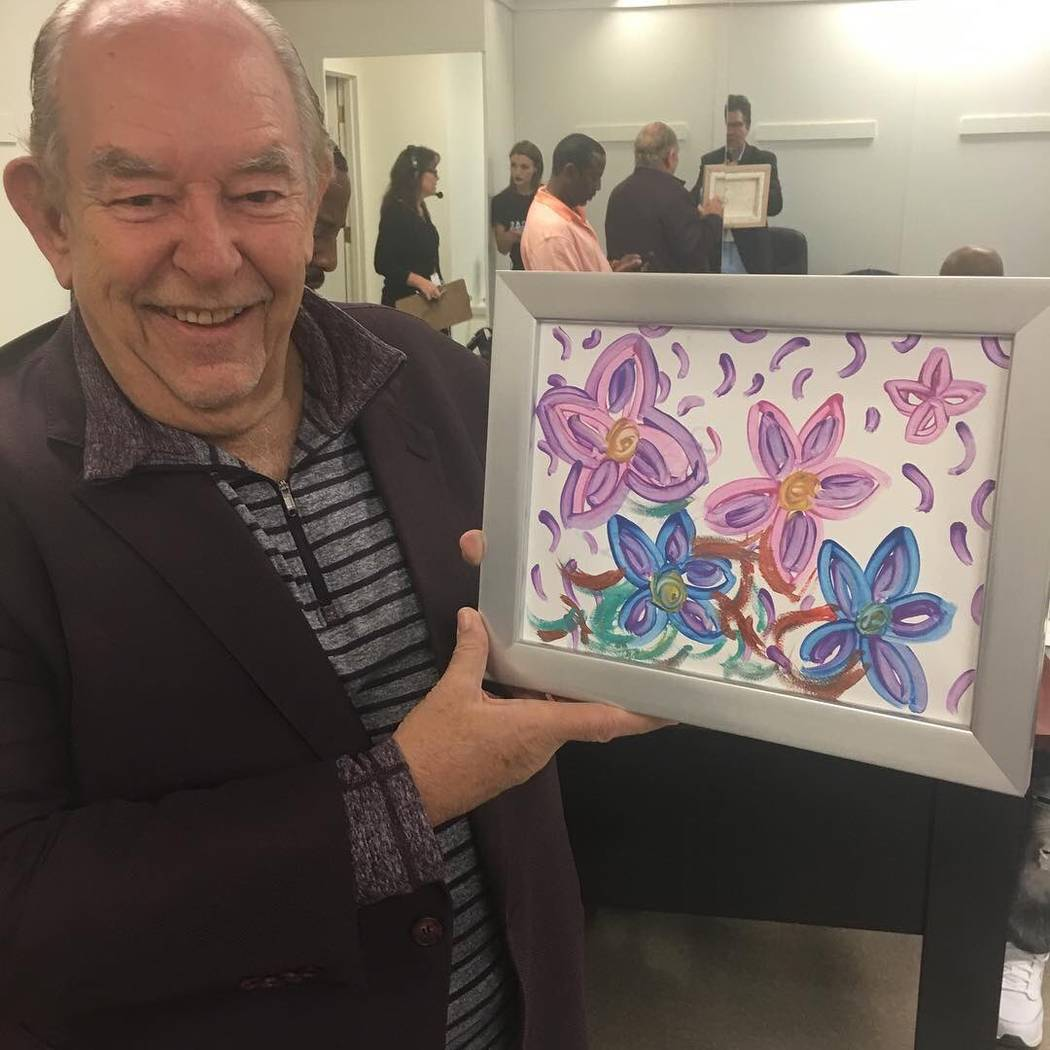 Robin Leach bid $10,000 to win this Britney Spears painting at the Nov. 5 Vegas Cares show, (Courtesy)