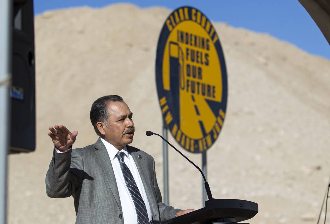 Rudy Malfabon, director of Nevada Department of Transportation, speaks during a groundbreaking ceremony for a $34 million Interstate 15 and Starr Avenue interchange project, Thursday, Nov. 30, 201 ...