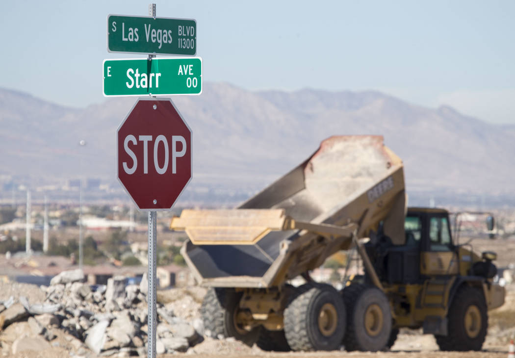 Construction continues at the intersection of Las Vegas Boulevard South and Starr Avenue on Thursday, Nov. 30, 2017, in Las Vegas. Richard Brian Las Vegas Review-Journal @vegasphotograph