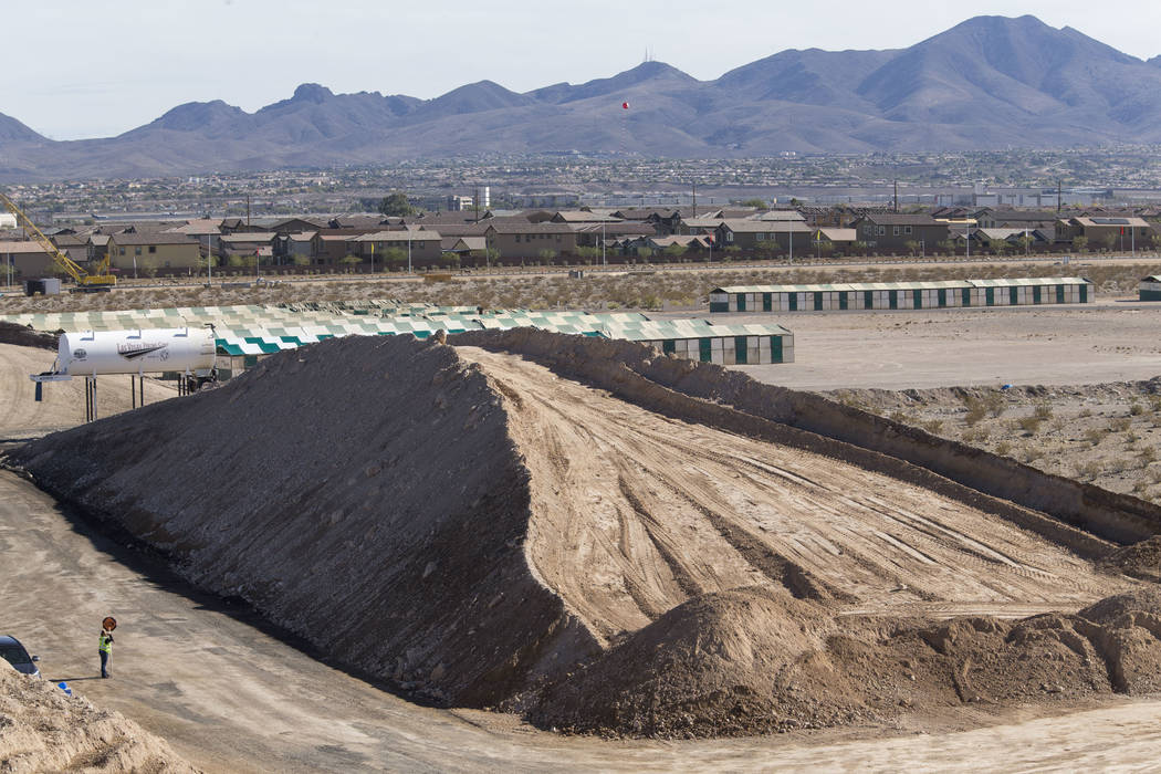 A pile of dirt sits at the site of the $34 million Interstate 15 and Starr Avenue interchange project, Thursday, Nov. 30, 2017, in Las Vegas. Richard Brian Las Vegas Review-Journal @vegasphotograph