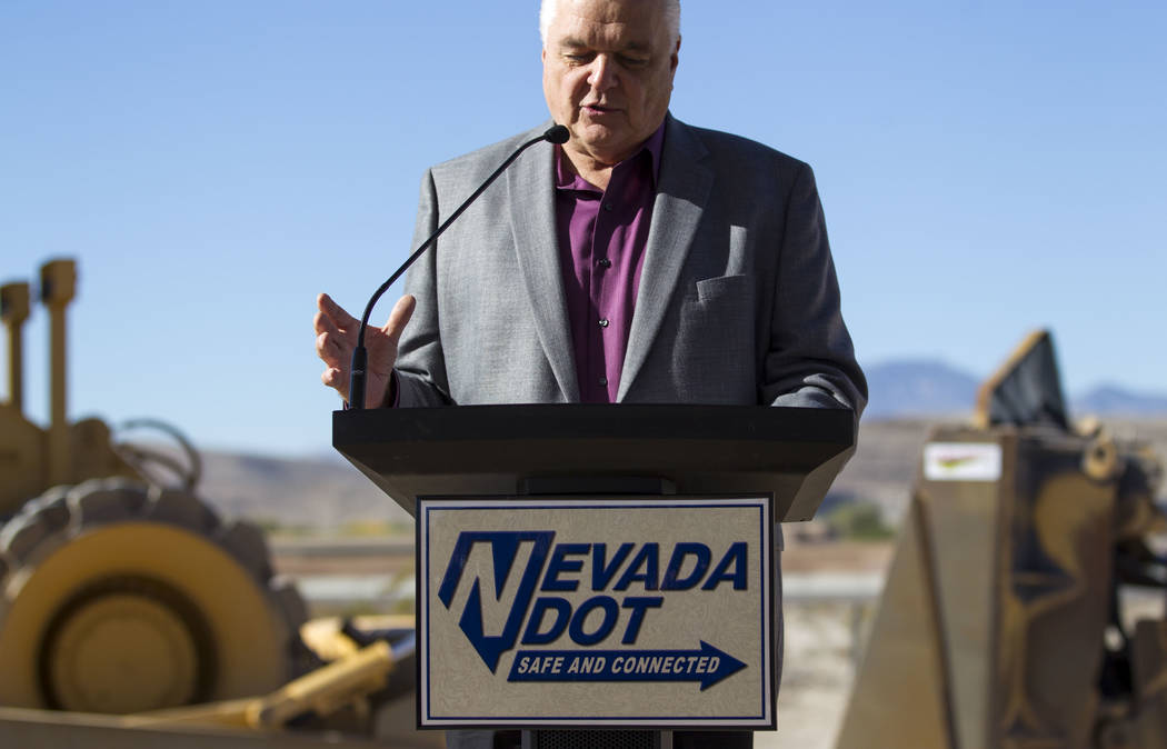Clark County Commission Chairman Steve Sisolak speaks during a groundbreaking ceremony for a $34 million Interstate 15 and Starr Avenue interchange project, Thursday, Nov. 30, 2017, in Las Vegas.  ...