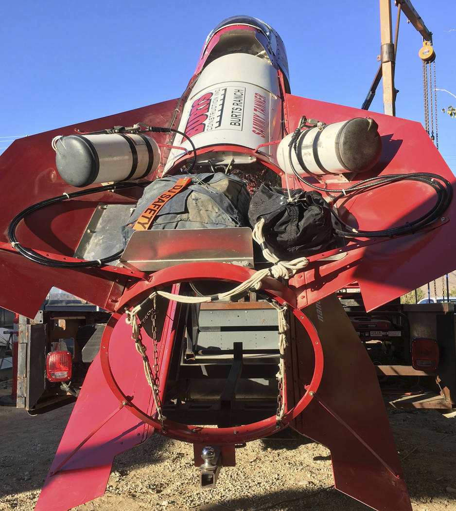 In this Wednesday, Nov. 15, 2017 photograph, the homemade, steam-powered rocket built by daredevil/limosuine drive Mad Mike Hughes is shown on the property the man leases in Apple Valley, Cal. Hug ...