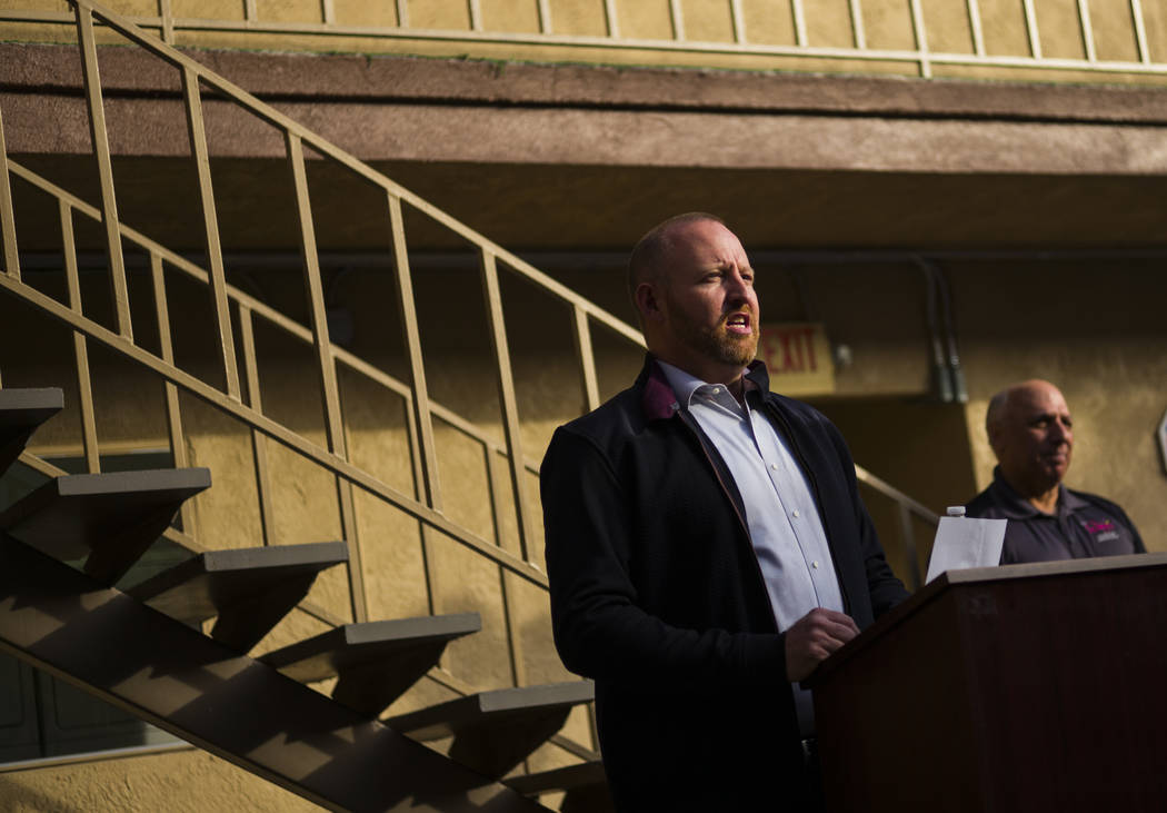 Jeff Iverson, founder of Freedom House and Freedom Behavior Health, speaks during the anniversary celebration for the facility in Las Vegas on Wednesday, Nov. 29, 2017. The center is one of the on ...