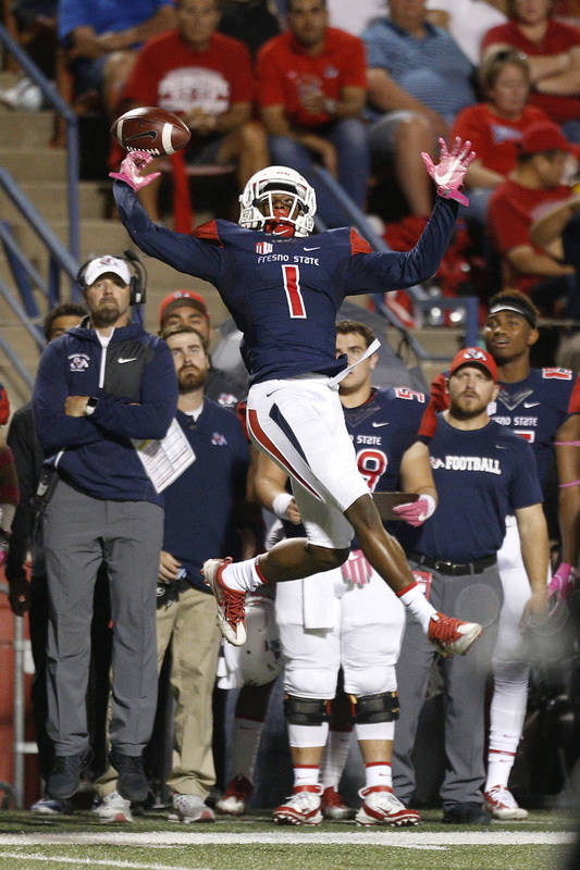 Oct 28, 2017; Fresno, CA, USA; Fresno State Bulldogs wide receiver Jamire Jordan (1) is unable to make a catch against the UNLV Rebels in the second quarter at Bulldog Stadium. Mandatory Credit: C ...