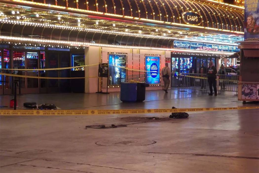 Las Vegas police have shut down part of Fremont Street in downtown Las Vegas after gunfire was reported around 3 a.m. Wednesday. (Max Michor/Las Vegas Review-Journal)