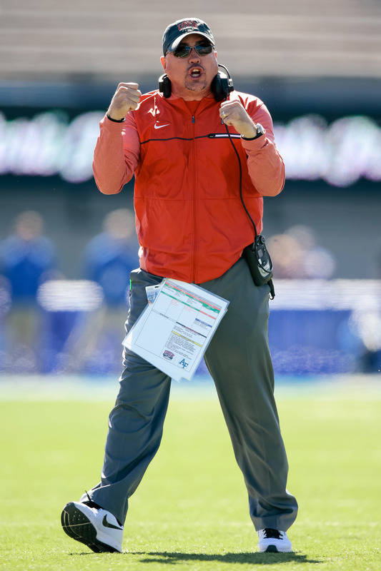 Oct 14, 2017; Colorado Springs, CO, USA; UNLV Rebels head coach Tony Sanchez reacts after a play in the first quarter against the Air Force Falcons at Falcon Stadium. Mandatory Credit: Isaiah J. D ...