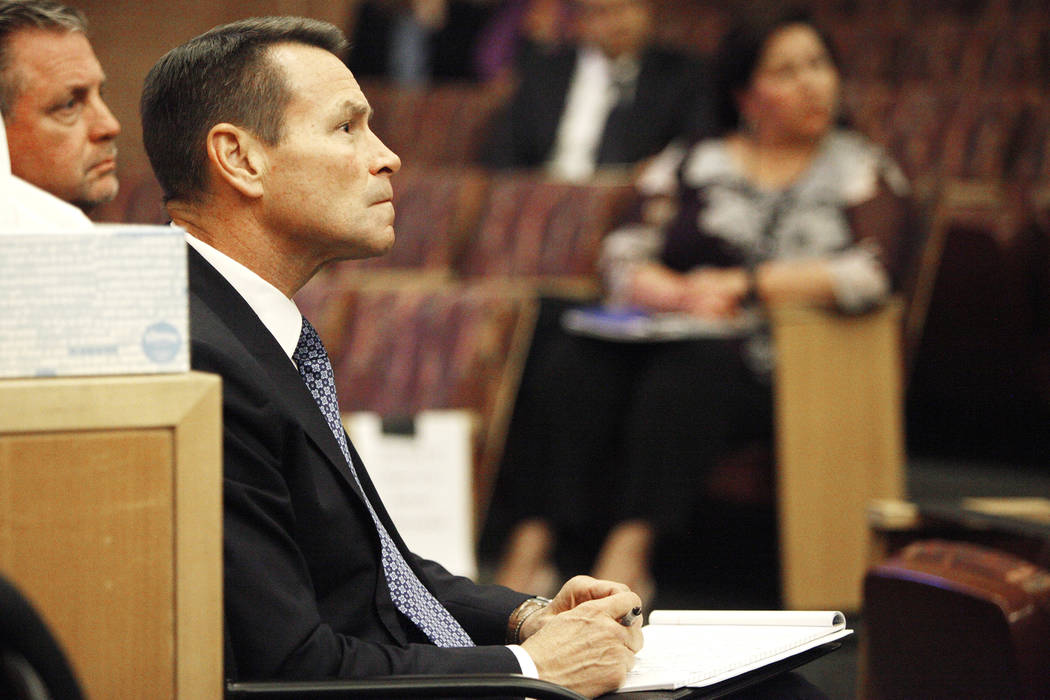 Scott Nielson, chairman of the Las Vegas Victims Fund committee, listens to survivors at the Clark County Government Center in Las Vegas, Tuesday, Nov. 28, 2017. Rachel Aston Las Vegas Review-Jour ...