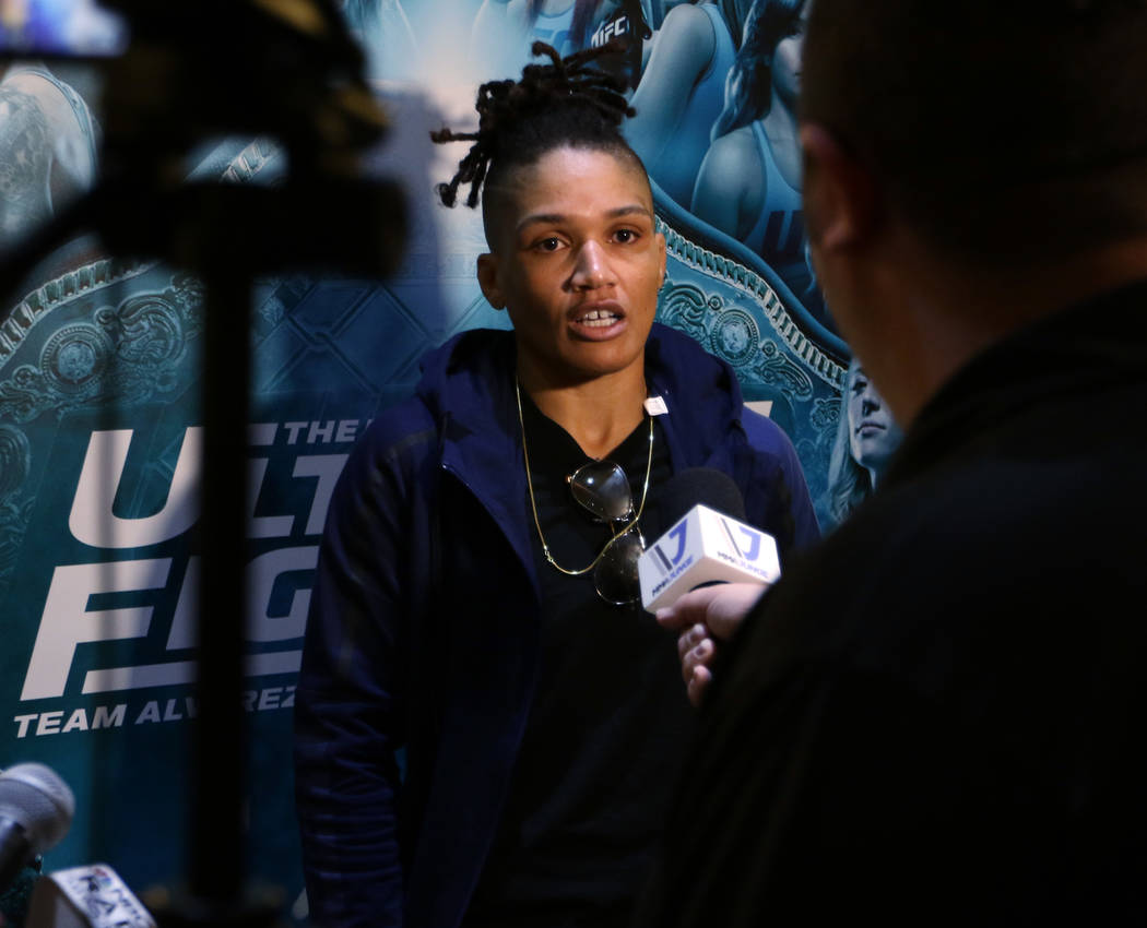 Ultimate Fighter 26 finalist Sijara Eubanks answers questions from reporters at the TUF 26 Finale media day at the Monte Carlo hotel-casino in Las Vegas, Wednesday, Nov. 29, 2017. Heidi Fang Las V ...