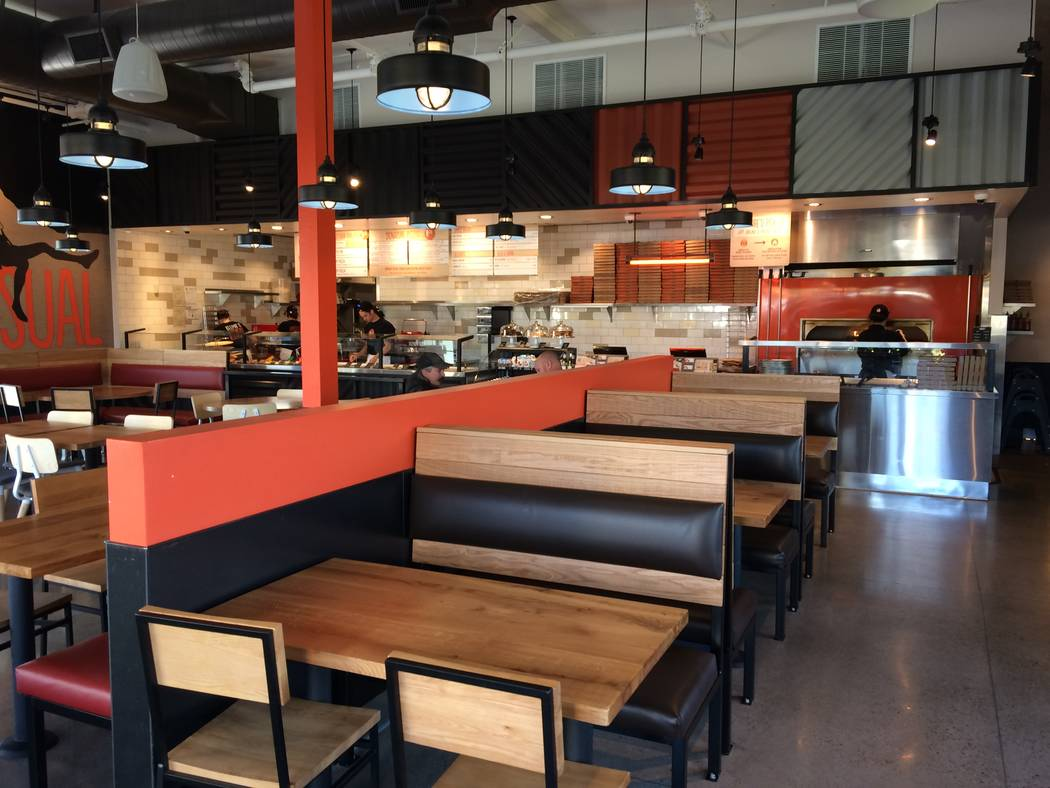 Interior of Blaze Fast Fire'd Pizza is seen Nov. 29, 2017. The eatery is new to Summerlin and the owners said the demographics and traffic counts made it a perfect choice. The enclosed patio is  ...