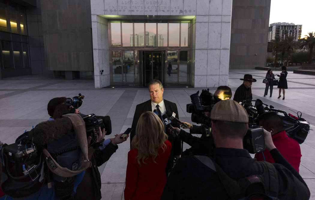 Bret Whipple, attorney for Cliven Bundy, speaks to reporters outside the Lloyd George U.S. Courthouse in downtown Las Vegas on Wednesday, Nov. 29, 2017. Cliven Bundy declined to be released from c ...