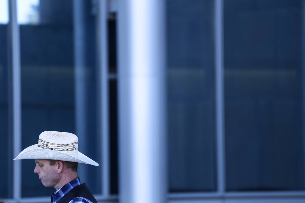 Ryan Bundy outside the Lloyd George U.S. Courthouse in Las Vegas after his brother Ammon Bundy's release from custody Thursday, Nov. 30, 2017. Ammon Bundy's trial related to a 2014 Bunkerville sta ...