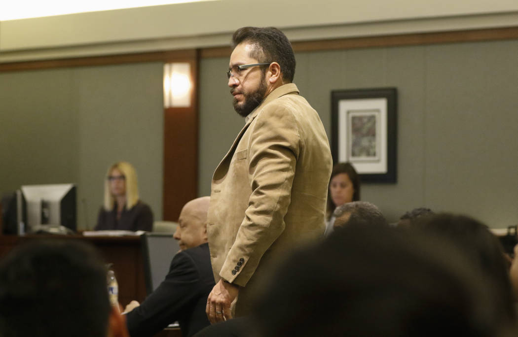 Arturo Martinez, whose wife and daughter were killed, prepares to testify during the sentencing phase in the trial of Bryan Clay at the Regional Justice Center in Las Vegas on Thursday, Nov. 30, 2 ...