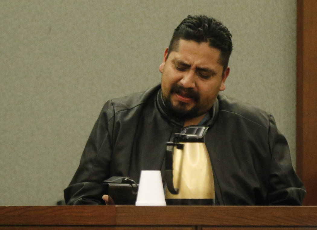 "Eutiquio Olmedo talks about his sister Ignacia ""Yadira"" Martinez, who was killed along with her daughter, during the sentencing phase in the trial of Bryan Clay at the Regional Justice Center  ..."