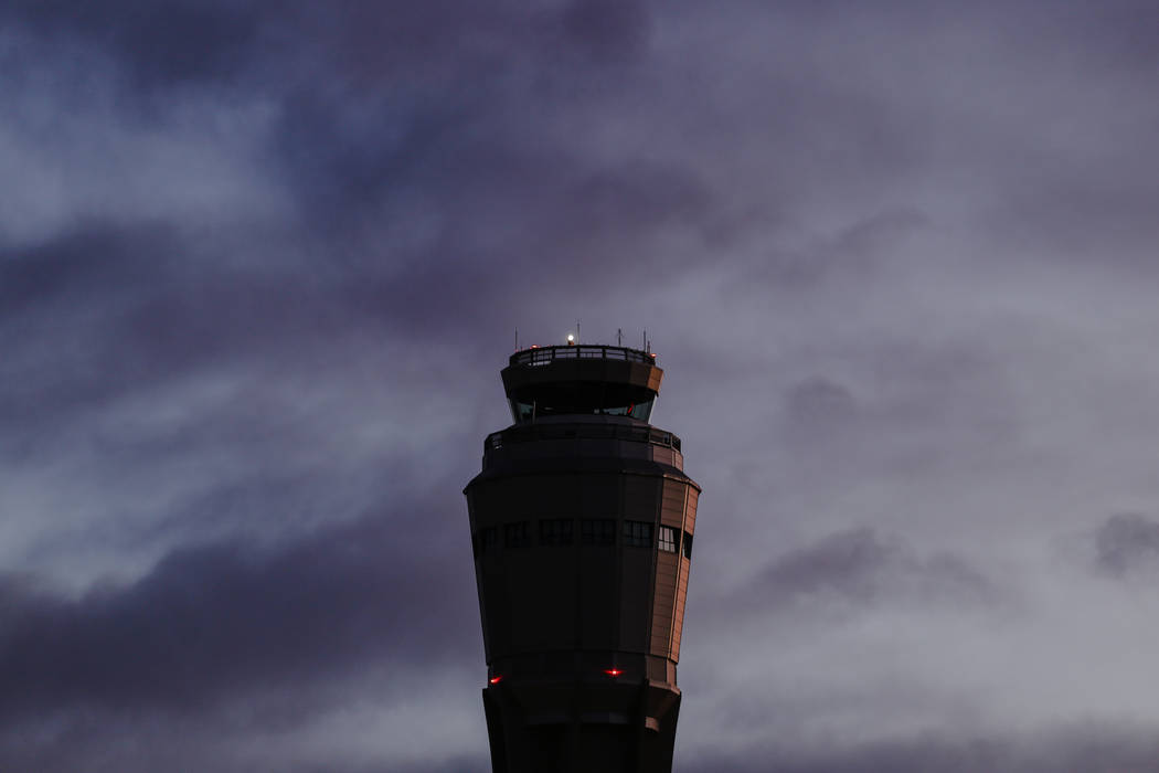 The air traffic control tower at McCarran International Airport in Las Vegas, Thursday, Nov. 30, 2017. Joel Angel Juarez Las Vegas Review-Journal @jajuarezphoto