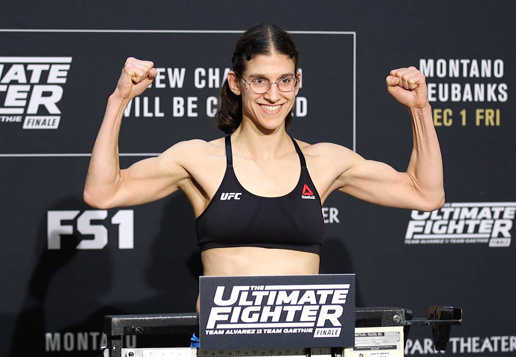 UFC flyweight Roxanne Modafferi on the scale at the TUF 26 Finale official weigh-ins at the Monte Carlo hotel-casino in Las Vegas, Thursday, Nov. 30, 2017. Heidi Fang Las Vegas Review-Journal @Hei ...