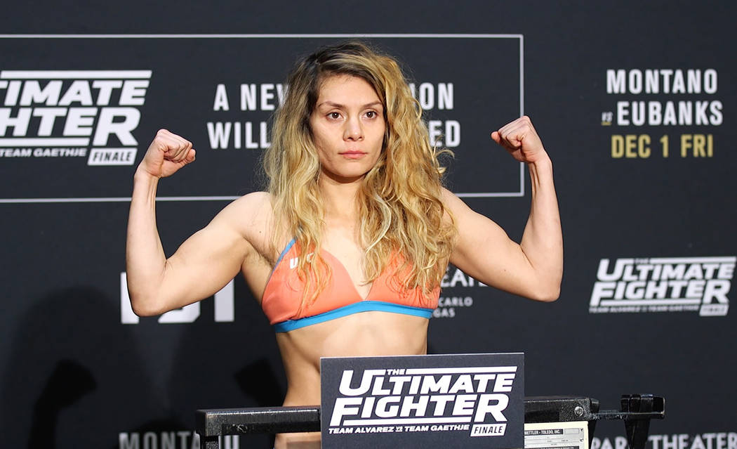 UFC flyweight title contender Nicco Montano on the scale at the TUF 26 Finale official weigh-ins at the Monte Carlo hotel-casino in Las Vegas, Thursday, Nov. 30, 2017. Heidi Fang Las Vegas Review- ...
