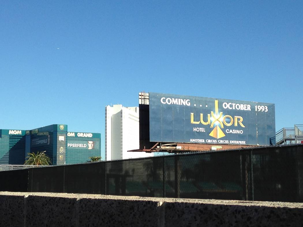 A billboard advertising the upcoming opening of the Luxor is seen across the street from the Las Vegas Strip hotel on Thursday, Nov. 30, 2017. The Luxor opened in 1993. Eli Segall Las Vegas Review ...