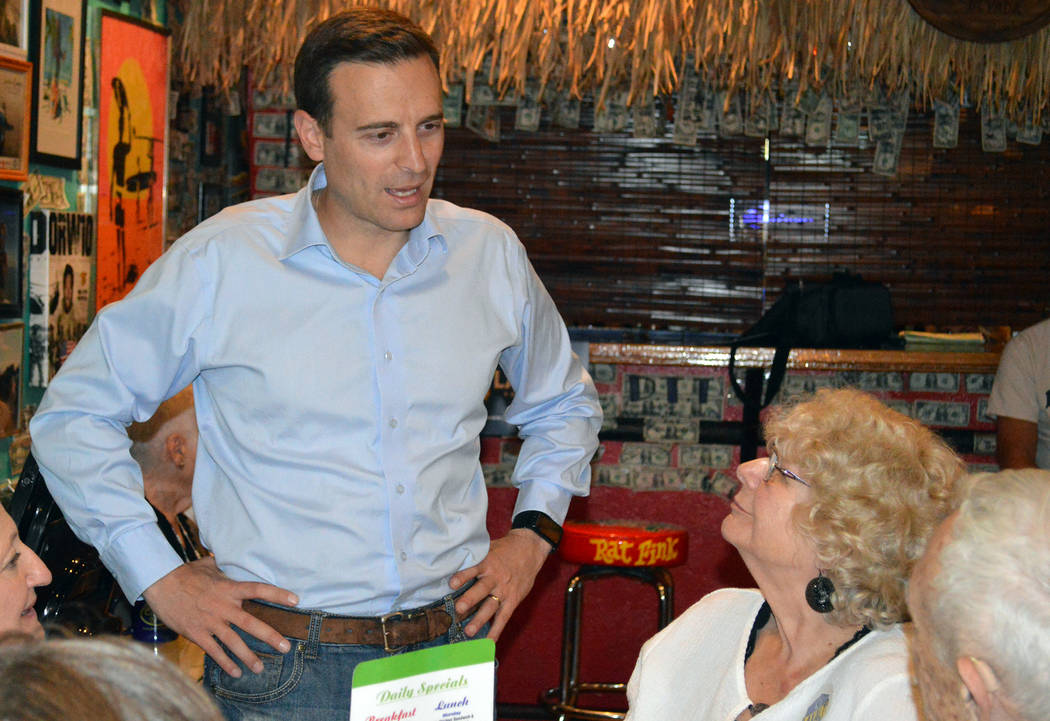Celia Shortt Goodyear/Boulder City Review Nevada Attorney General Adam Laxalt talks with Norma Barth at the World Famous Coffee Cup in Boulder City on Tuesday, Nov. 7, about his candidacy for Neva ...