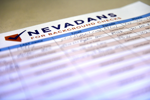 A petition for an initiative for a gun background check is displayed at the Journey United Methodist Church Monday, March 14, 2016, in Las Vegas. David Becker/Las Vegas Review-Journal Follow @davi ...