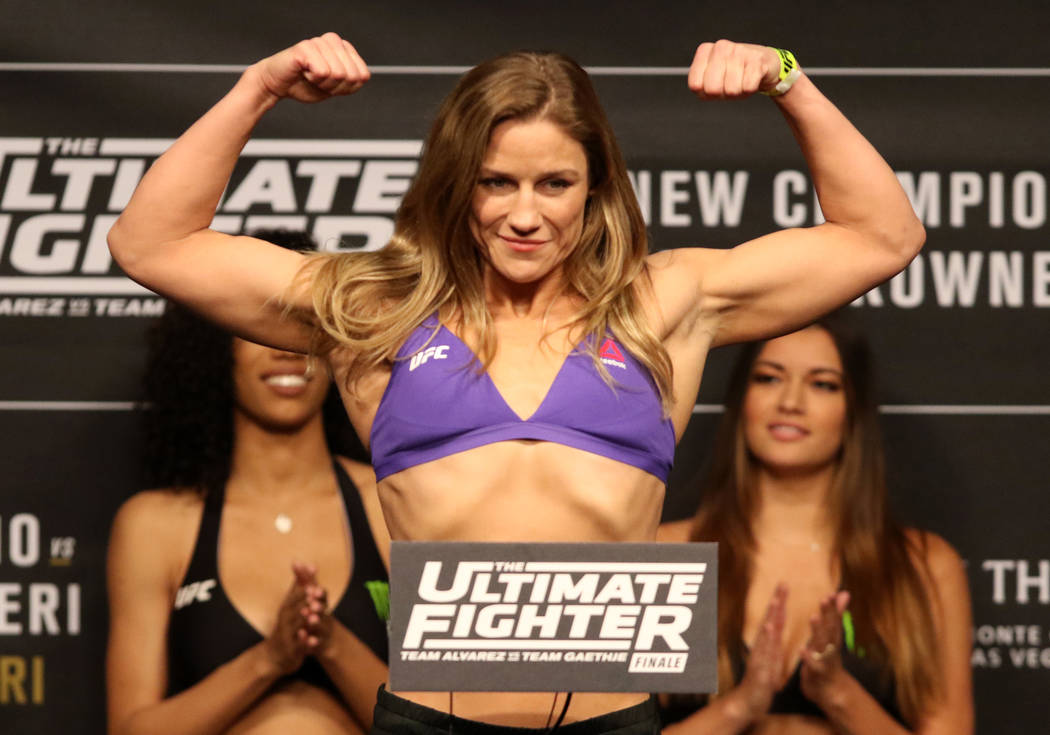 UFC flyweight Barb Honchak on the scale during the TUF 26 Finale ceremonial weigh-ins at the Monte Carlo hotel-casino's Park Theater in Las Vegas, Thursday, Nov. 30, 2017. Heidi Fang Las Vegas Rev ...
