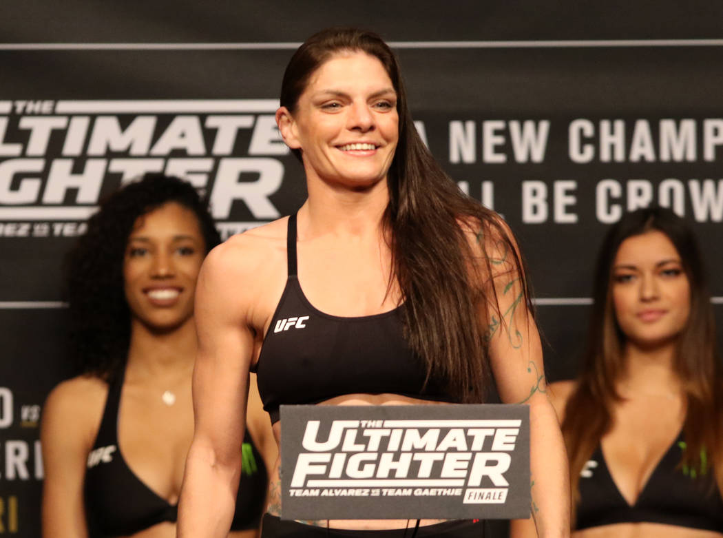 UFC flyweight Lauren Murphy on the scale during the TUF 26 Finale ceremonial weigh-ins at the Monte Carlo hotel-casino's Park Theater in Las Vegas, Thursday, Nov. 30, 2017. Heidi Fang Las Vegas Re ...