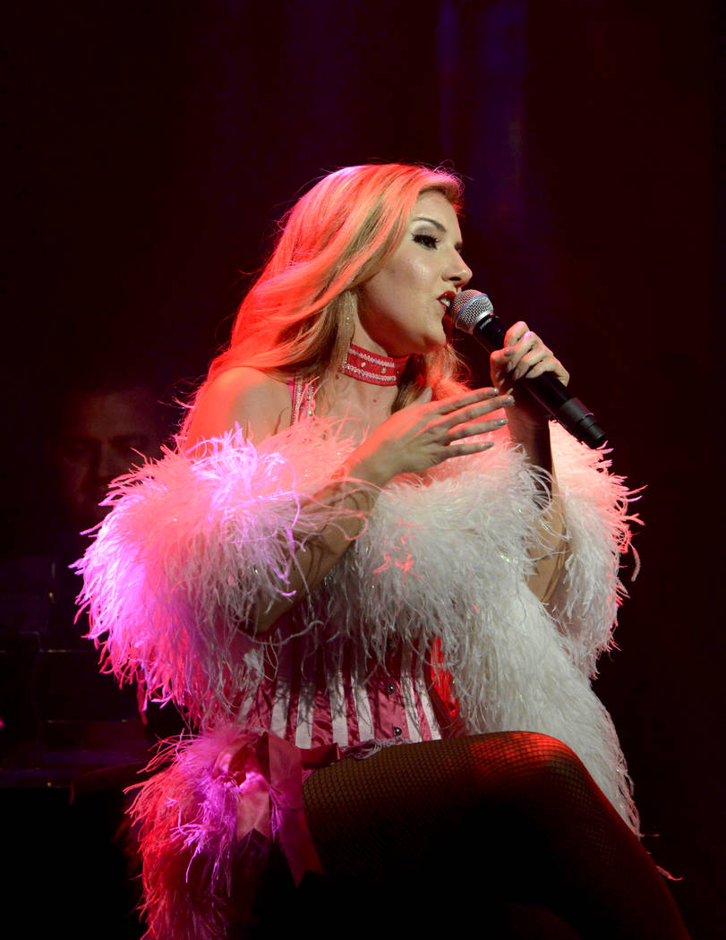 """Maren Wade takes center stage during the opening night of the musical review """"The Cocktail Cabaret"""" at Cleopatra's Barge in Caesars Palace Hotel & Casino. Thursday, November 30, 2017. Glenn Pi ..."""