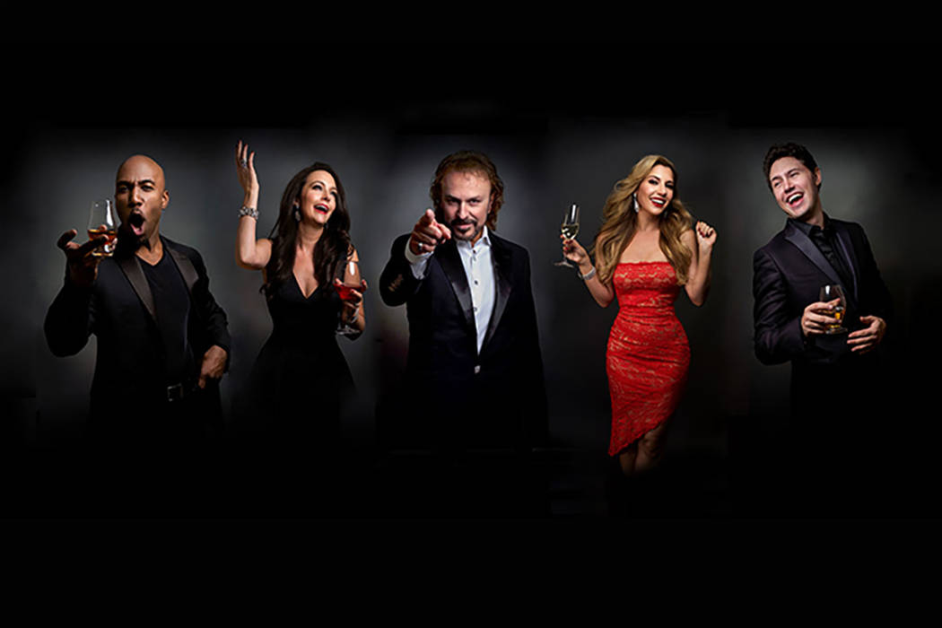 """The cast of """"The Cocktail Cabaret,"""" from left: Eric Jordan Young, Niki Scalera, Philip Fortenberry, Maren Wade and Daniel Emmet. The show opened Nov. 30 at Cleopatra's Barge at Caesars Palace. (Ki ..."""