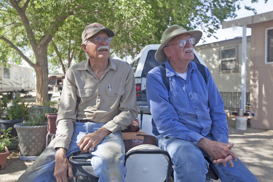 Darrell Hudson, left, and brother Rodney Hudson talk to the Review-Journal while sitting on a tractor on Monday, June 5, 2017, in Dyer, a small town in Esmeralda county. The county is one of the l ...